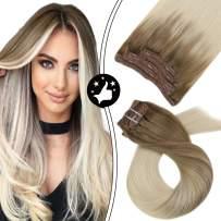 Moresoo Hair Extensions Clip in Human Hair Blonde 12 Inch Clip in Hair Extensions Real Hair Extensions Clip in Human Hair #6/60 Balayage Brown to Blonde Human Natural Hair Extensions 5PCS 70G