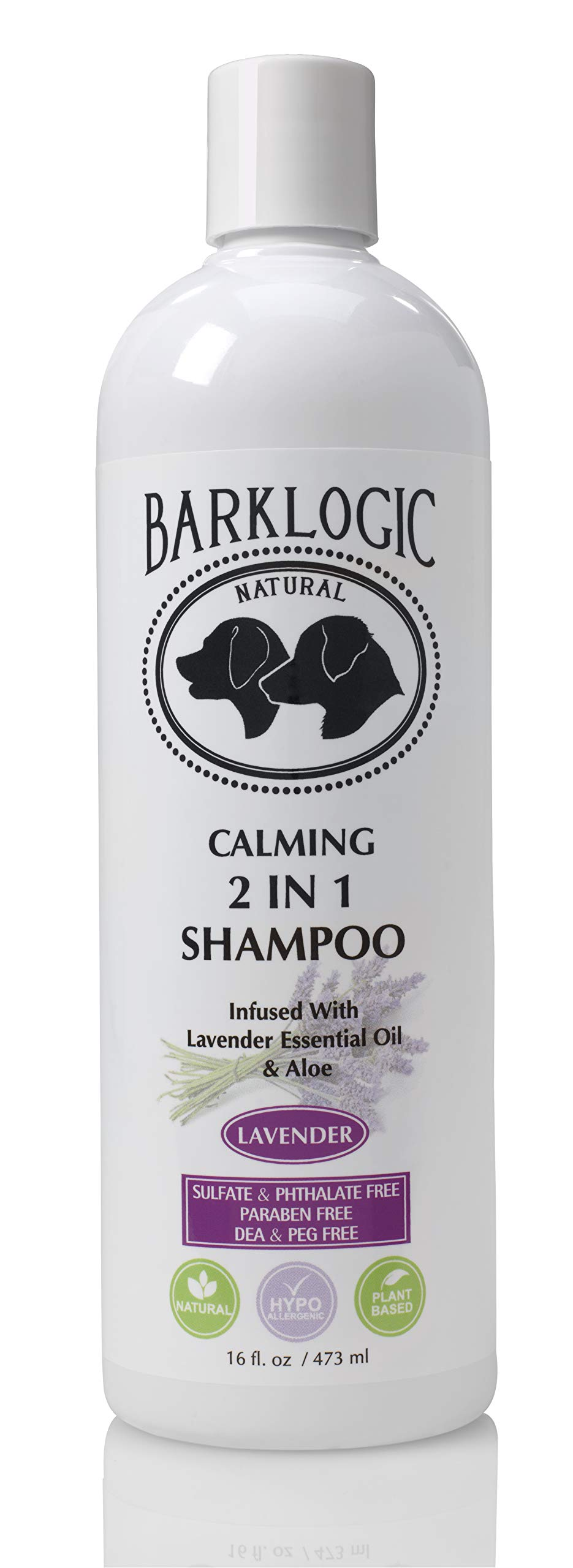 BarkLogic 2 in 1 Natural Dog Shampoo and Conditioner with Essential Oils, 16 oz, Hypoallergenic Plant Based Formula for Sensitive Skin