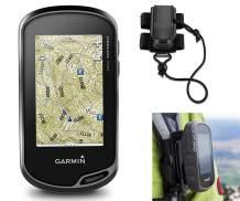 Garmin Oregon 750t Hiking GPS Bundle | with Hiking Backpack Tether Mount | Carabiner Clip & USB Cable | GPS/GLONASS Handheld | Built-in Wi-Fi, Camera, TOPO U.S. 100K