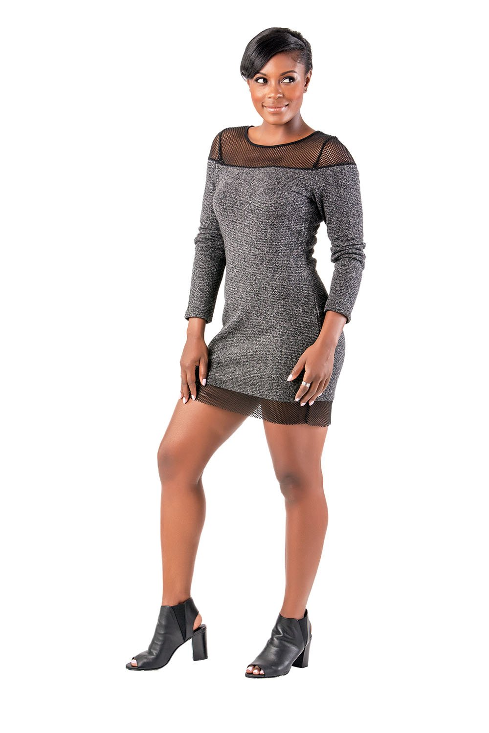 Poetic Justice Curvy Women's Black Knit French Terry Mesh Long Sleeve Dress
