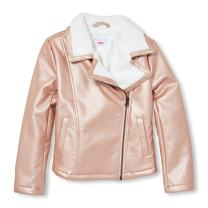 The Children's Place Big Girls' Metallic Faux Leather Jacket