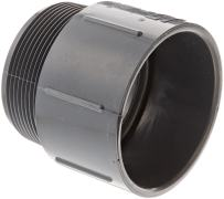 "Spears 436-G Series PVC Pipe Fitting, Adapter, Schedule 40, Gray, 3"" NPT Male x 3"" Socket"