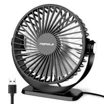 TriPole Small Desk Fan USB Powered Portable Fan 3 Speeds Strong Airflow Mini Fan 360°Rotation Personal Fan 5.1 Inch Table Fan for Home Office Bedroom Desktop, Black, 4.9ft Cable