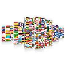 Startonight Huge Canvas Wall Art World Flags - Large Framed Set of 7 40 x 95 Inches