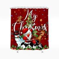 Wasserrhythm Merry Christmas Shower Curtain Santa Claus Snowman Dancing Shower Curtain Polyster 72x72 Inches