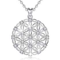 INFUSEU Sterling Silver Flower of Life Lotus Spiritual Charm Pendant Necklace for Women Fine Jewelry Gift, 18 Inch Chain