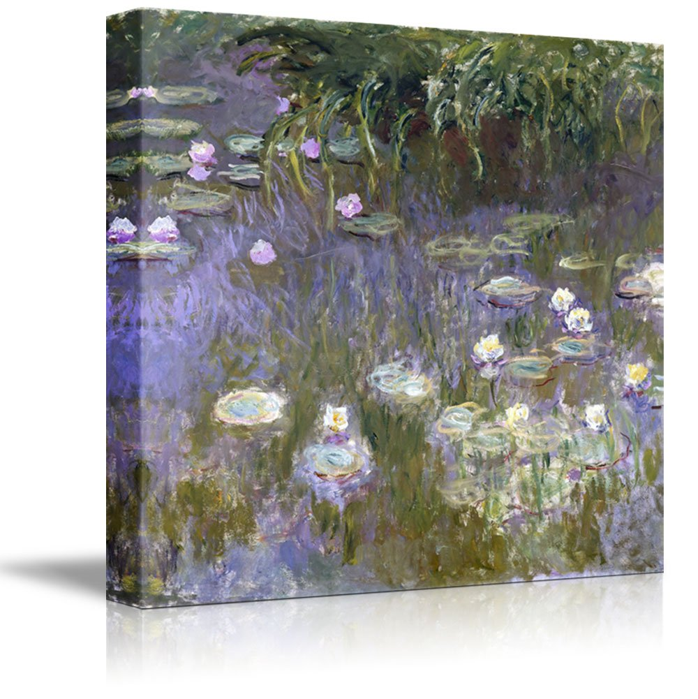 """wall26 - Water Lilies by Claude Monet - Canvas Print Wall Art Famous Painting Reproduction - 24"""" x 24"""""""