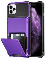 SAMONPOW Credit Card Holder Case for iPhone 11 Pro Max Case with 4 Card Holder Hard PC Soft Hybrid Rubber Anti Scratch Shockproof Heavy Duty Cover for iPhone 11 Pro Max 6.5 inch Purple