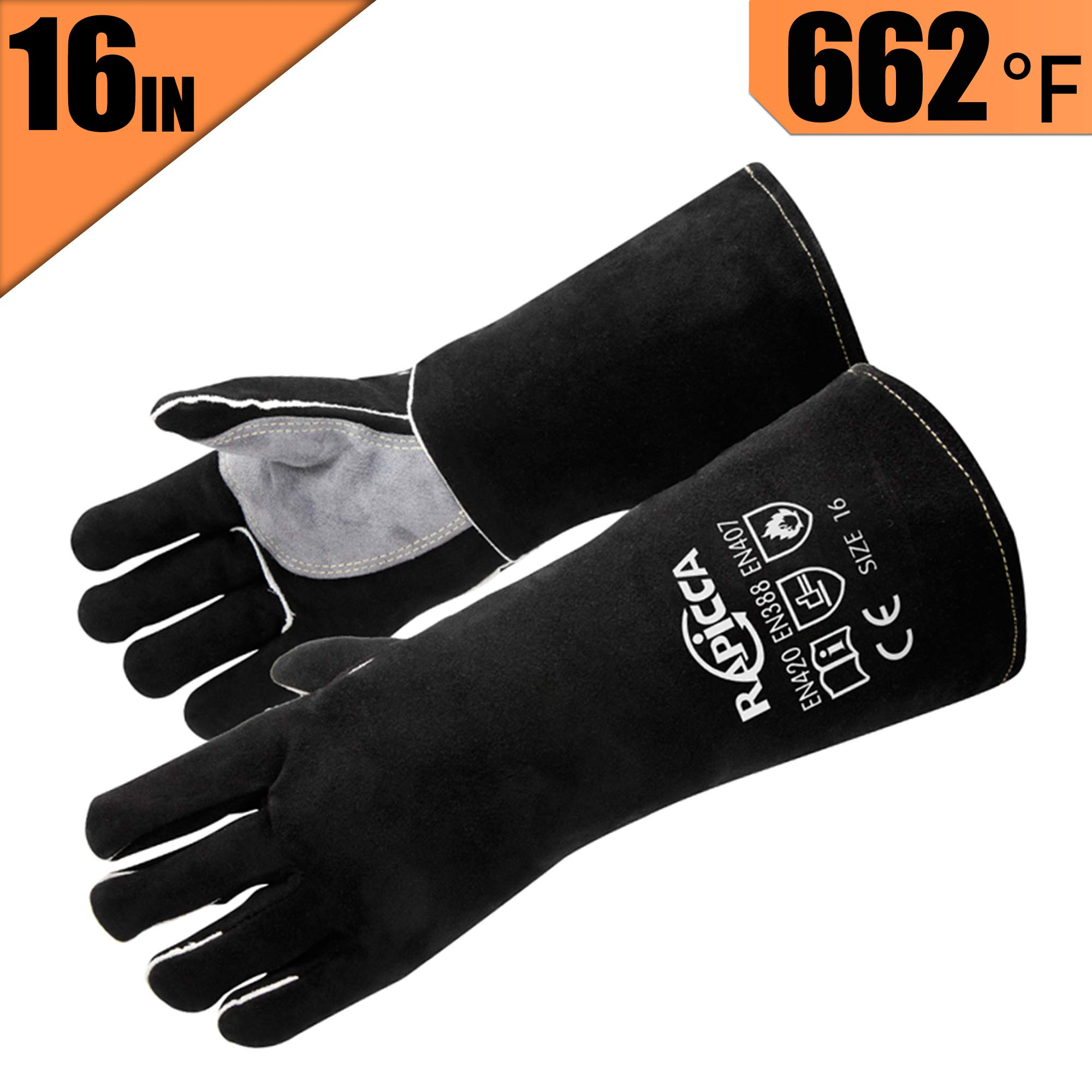 RAPICCA Leather Forge Welding Gloves Heat/Fire Resistant, Mitts for Oven/Grill/Fireplace/Furnace/Stove/Pot Holder/Tig Welder/Mig/BBQ/Animal handling glove with 16 inches Extra Long Sleeve – Black