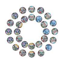 PH PandaHall 40PCS 10mm Round Flatback Glass Dome Cabochons Gems for Jewelry Making Handcrafts Scrapbooking (Skull Pattern)