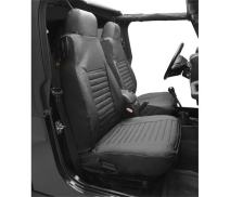 Bestop 2922715 Black Denim Seat Covers for Front High-Back Seats - Jeep 1980-1983 CJ5, 1976-1986 CJ7, 1987-1991 Wrangler; Sold as Pair; Fit Factory Seats