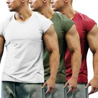 COOFANDY Men's 3 Pack Gym Workout T Shirt Short Sleeve Muscle Cut Bodybuilding Training Fitness Tee Tops