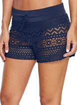 ROSKIKI Womens Hollow Out Lace Swimsuit Bottoms Solid Stretch Swimwear Shorts Waistband Side Slit Swim Boardshorts