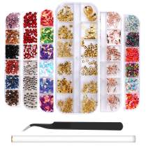 6 Boxes Nail Art Rhinestones Rose Gold Nail Rivets Studs, Charms Nail Sequins, 3D Nail Gems Decoration Kit, Multicolor Acrylic Crystals with Curved Tweezer, Pencil Picker
