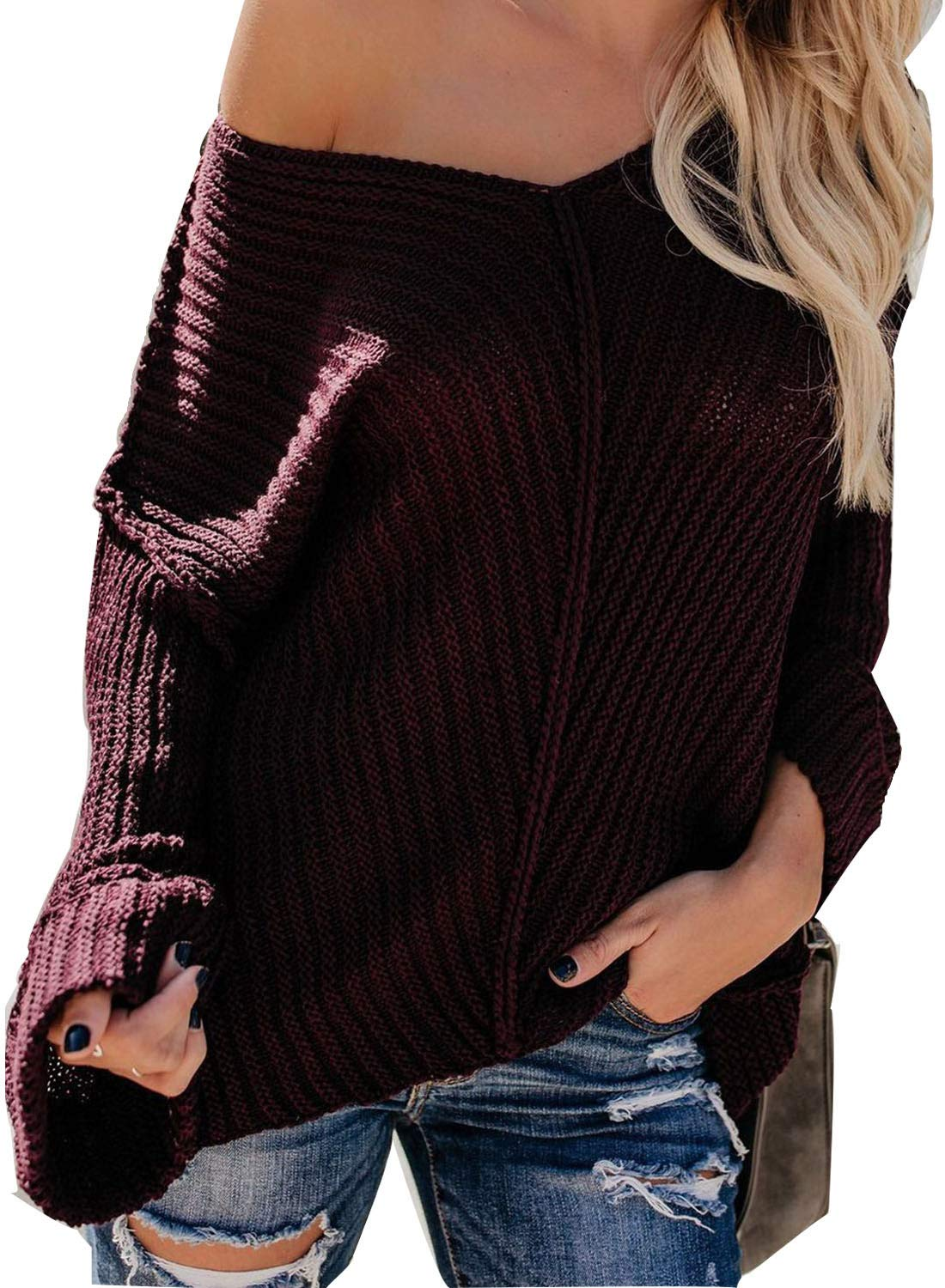 Astylish Women Breathable V Neck Cuffed Sleeve Off The Shoulder Loose Fit Oversize Ribbed Cable Knit Pullover Sweater Jumper Red Large