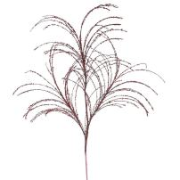 "Vickerman QG164005 Glitter Grass Spray x 3 with Paper wrapped wire stem in 6/Bag, 34"", Burgundy"