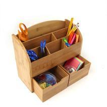 Mind Reader Desk Supplies Organizer 6 Compartment, Bamboo Brown