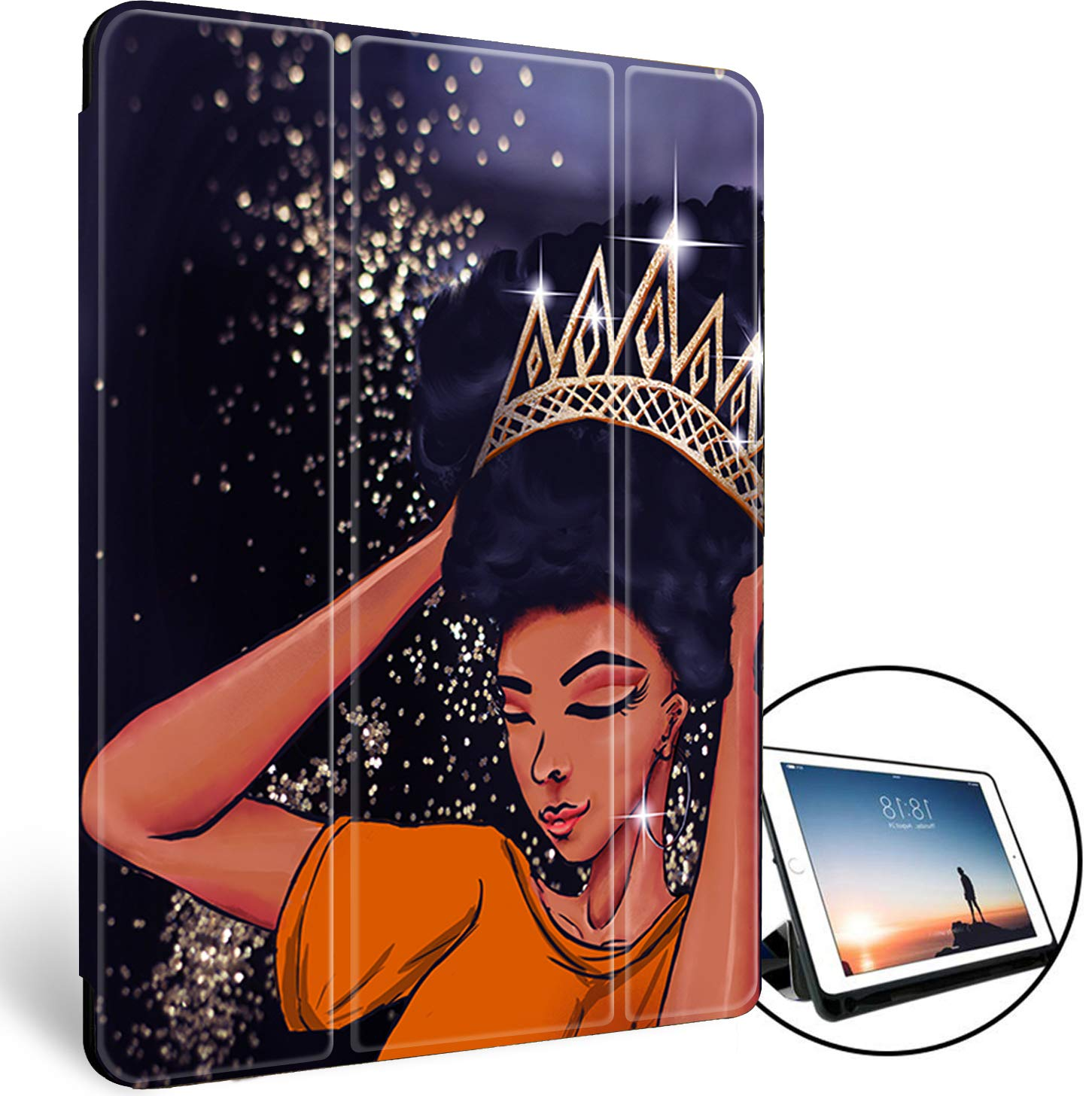 Hunthawk Case for iPad 9.7 2018/2017, Lightweight Smart Cover with Auto Sleep/Wake Standing Protective Cover, Hard Back Cover for iPad 9.7 iPad 5th / 6th Generation with Pencil Holder, Crown Girl