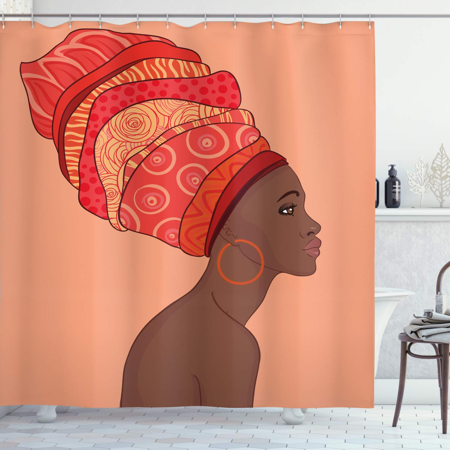 """Ambesonne African Shower Curtain, Exotic Young Native Girl with Traditional Turban Folk Art, Cloth Fabric Bathroom Decor Set with Hooks, 70"""" Long, Chocolate Salmon"""