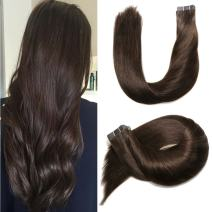 Aison Dark Brown Tape in Hair Extensions 22 inch Real Natural Silky Hair Extensions 100% Remy Human Hair 20pcs 50g 2020 Popular Hair Extensions Long Brown Hair Extensions Tape in