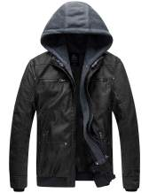 Wantdo Men's Lightweight Faux Leather Jacket with Removable Hood Motorcycle Casual Vintage Coat