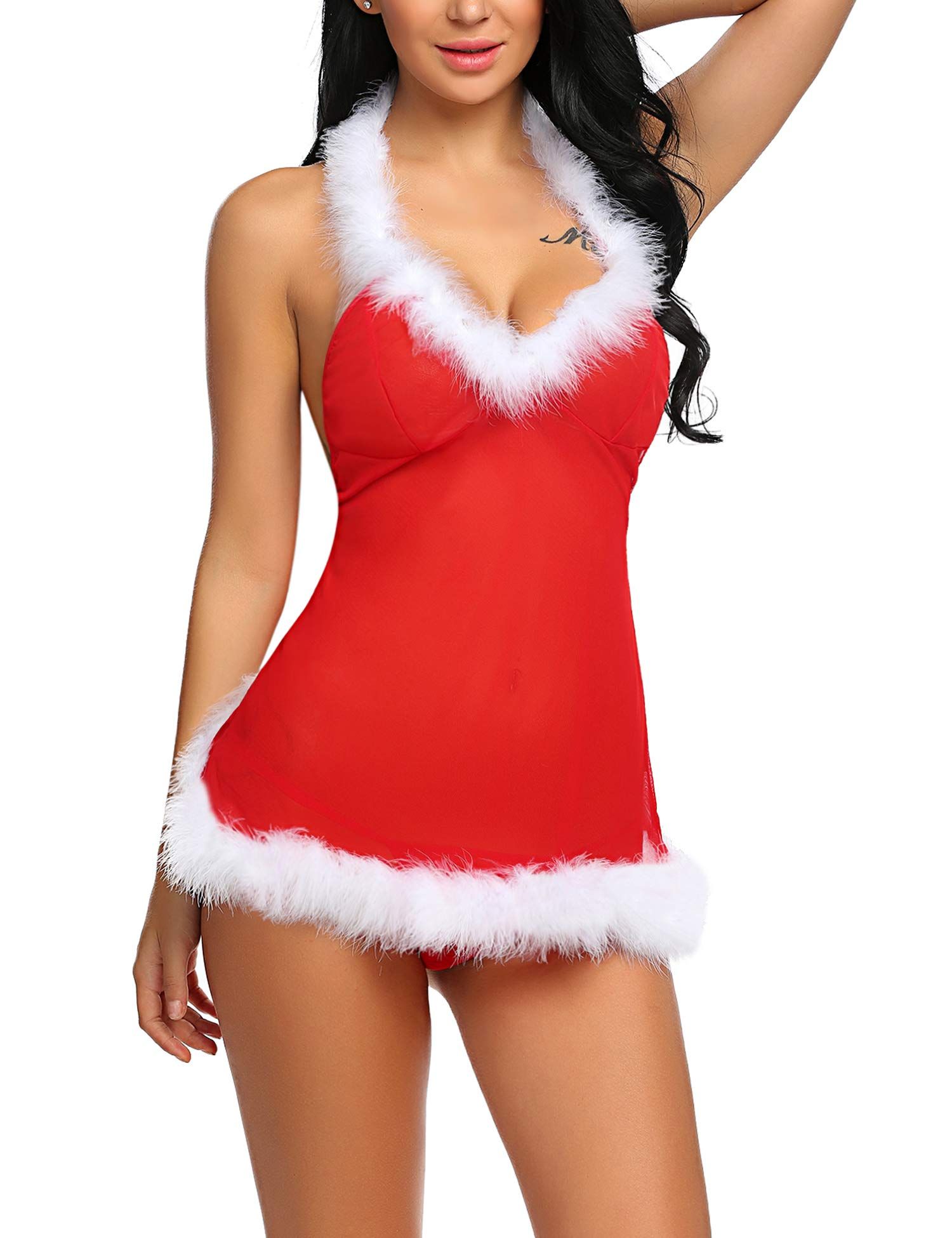 ADOME Women Babydoll Lace Teddy Lingerie Bodysuit Deep V Sleepwear Bodysuit