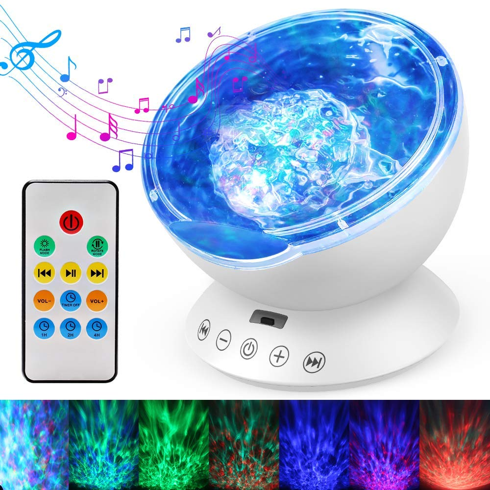 Ocean Wave Projector, Remote Control Night Light Lamp 12 LEDs & 7 Color Changing Modes LED Night Light Projector Lamp Built-in Mini Music Player for Baby Kids Adult Bedroom Living Room(White)
