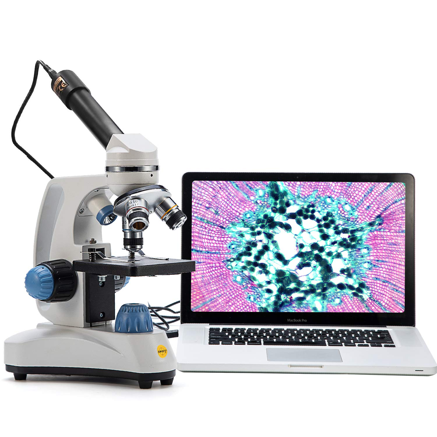 SWIFT Microscope SW150,Compound Student Microscope,40X-1000X,Monocular Head,Coarse & Fine Focusing,Dual Illumination,Cordless-Capable with Eyepiece Camera and Software Windows and Mac Compatible