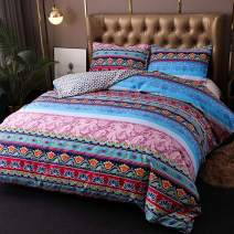 Argstar 3 Pcs Queen Bohemian Duvet Cover with Zipper, Colorful Mandala Bedding Set, Boho Floral Comforter Cover, Lightweight Microfiber Quilt Cover, 1 Duvet Cover and 2 Pillowcases