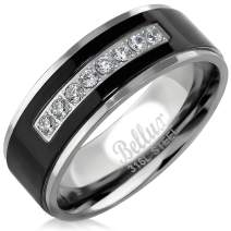 Mens Wedding Bands Stainless Steel Promise Rings for Him Silver Black Comfort-Fit Engagement Jewelry