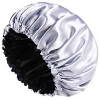 Satin Bonnet Sleep Bonnet Cap - Extra Large, Double Layer, Reversible, Adjustable Satin Cap for Sleeping Hair Bonnet(X-Large)