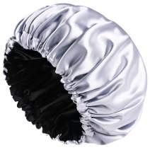 Satin Bonnet Sleep Bonnet Cap - Extra Large, Double Layer, Reversible, Adjustable Satin Cap for Sleeping Hair Bonnet (Large, Grey)