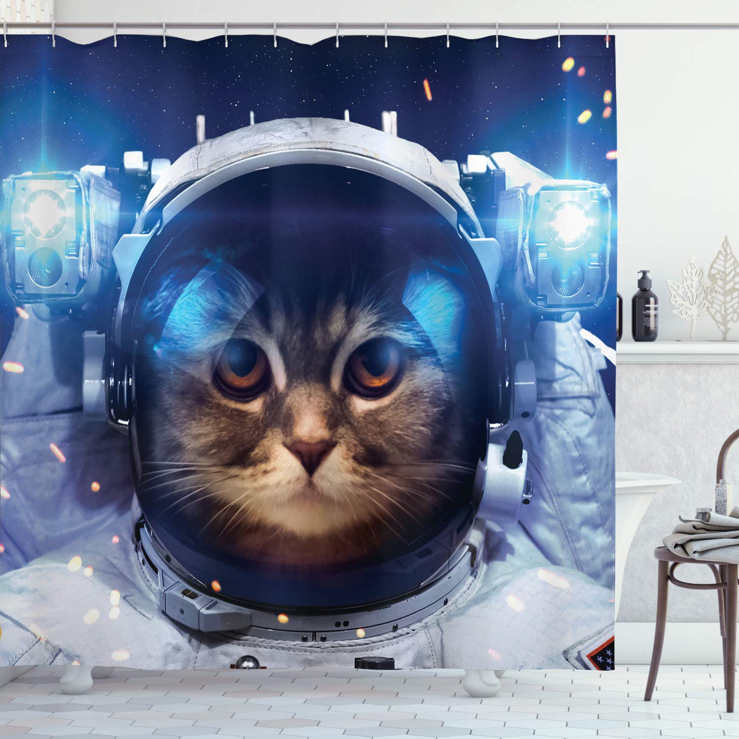 """Ambesonne Space Cat Shower Curtain, Felline Astronaut Theme Funny Illustration with Science Themes Exploring Universe, Cloth Fabric Bathroom Decor Set with Hooks, 70"""" Long, Navy Gray"""