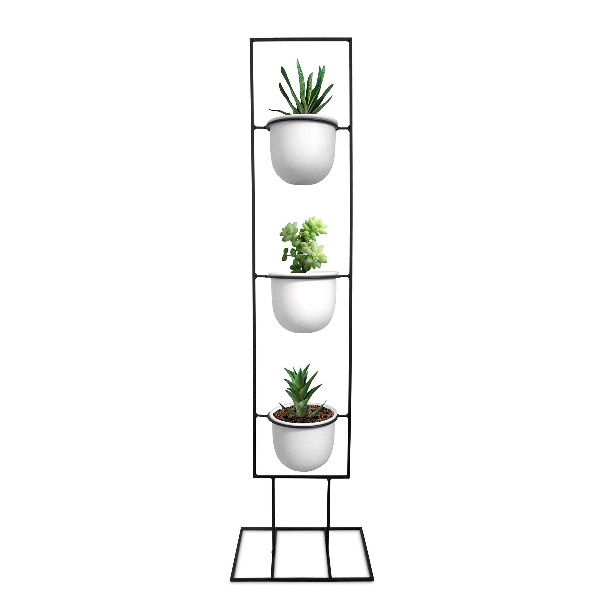 Indoor Metal Vertical Plant Stand with 3 White Ceramic Pots, Iron Flower Pot Holder Rack, Outdoor Decor, Potted Steel Planter Garden Container Display, 23 Bees