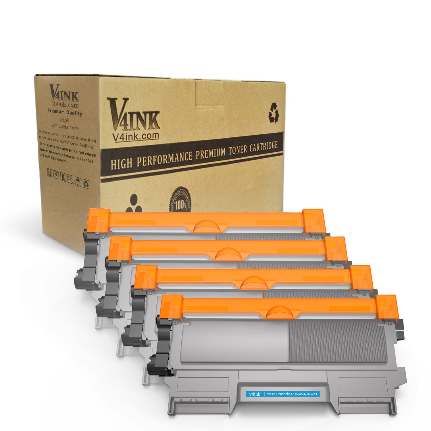 v4ink New Compatible Toner Cartridge Replacement for Brother TN450 TN-450 TN-420 for Use with HL-2270dw HL-2280dw HL-2240d MFC-7360n MFC-7860dw Series Printer, 4 Pack Enhanced Version