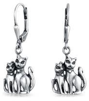 Pets 2 Kitten Kitty Dangling Leverback Dangle Cat Earrings For Women For Teen Oxidized 925 Sterling Silver