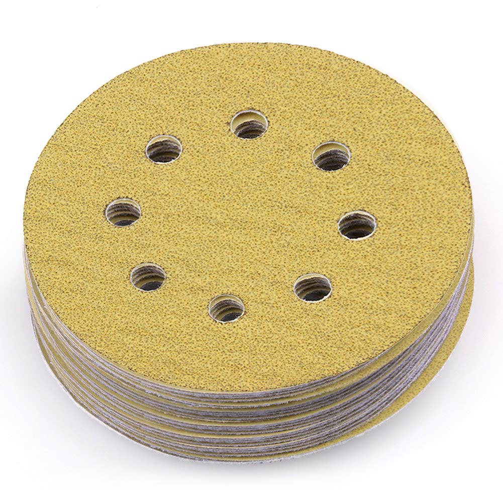 LotFancy 5-Inch 8-Hole 60 Grit Dustless Hook-and-Loop Sanding Disc Sander Round Sandpaper (60 Grits,Pack of 100)