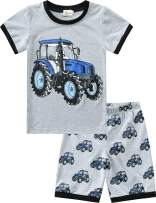 Toddler Boys Pajamas Summer Short Sets Fire Truck 100% Cotton Kids Pjs Excavator Sleepwear Clothes Set Size 1-7T