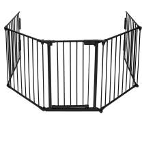 Binrrio 5 Panels Baby Safety Gate Fireplace Fence, 120 Inch Baby Play Area Gate Playpen, Adjustable Metal Play Yard for Toddler Child/Pet Christmas Tree Fence Black