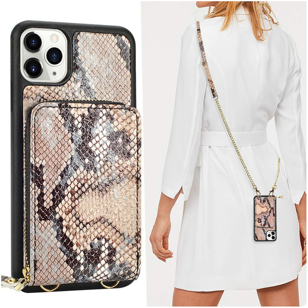 iPhone 11 Pro Max Wallet case Midnight Green JLFCH iPhone 11 Pro Max Crossbody Case with Zipper Card Slot Holder Wrist Strap Shoulder Chain Leathe Purse for Apple iPhone 11 Pro Max 6.5 inch 2019