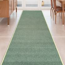 Teal-Green Solid Plain Rubber Backed Non-Slip Hallway Stair Kitchen Runner Rug Carpet 22in X 10ft
