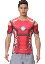 Red Plume Men's Film Super-Hero Series Compression Sports Shirt Running Short Sleeve Tee