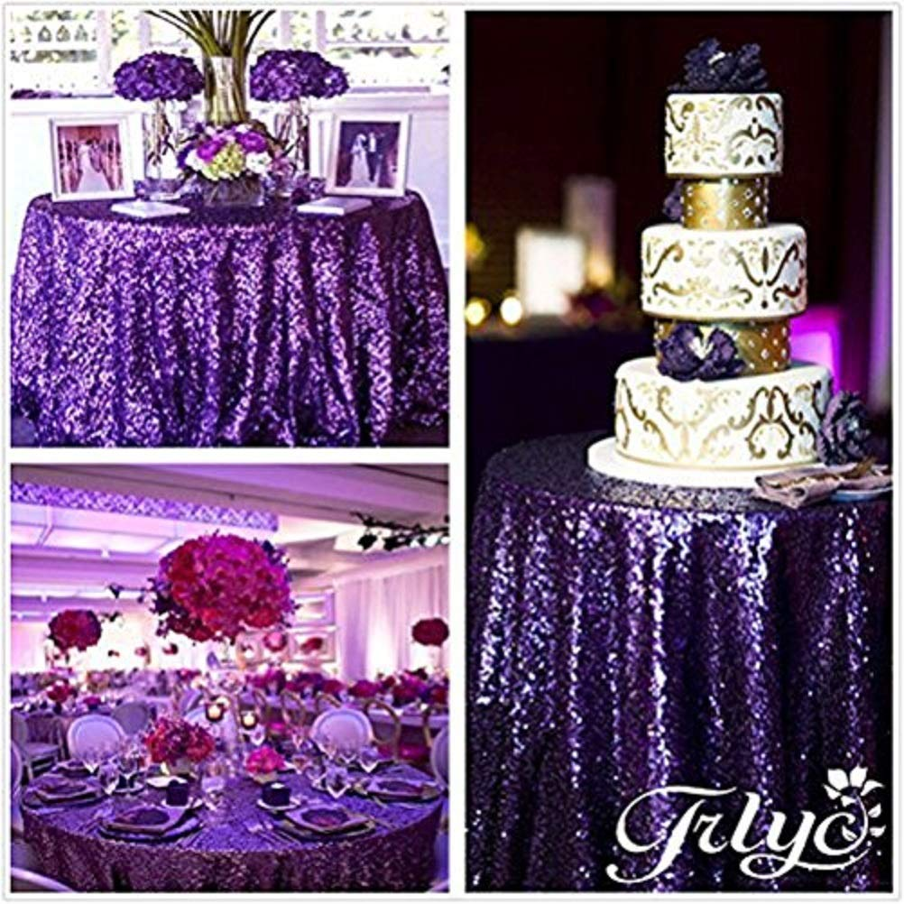 TRLYC More Sizes Purple Sequin Tablecloth for Wedding Event Supplies Choose Size 72'' to 196''