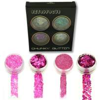 Pink Glitter Powder Sequins for Nails Slime Arts Crafts Extra Fine Cosmetic Glitter Shakers Festival EDC (4CGPD-04)