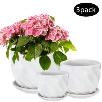 Flower Pot, OAMCEG Round Modern Plant Pot Small to Medium Sized(4.1in/5.5in/6.7in), Ceramic Garden Plants Containers/Succulent Pots with Drainage Hole,White Twill 3 Pack(Plants NOT Included)