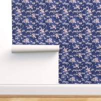 Spoonflower Pre-Pasted Removable Wallpaper, Cherry Blossoms Japanese Floral Flowers Print, Water-Activated Wallpaper, 12in x 24in Test Swatch