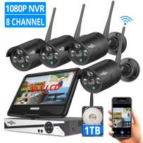 """[8CH Expandable] Hiseeu Wireless Security Camera System with 10.1"""" LCD Monitor, 4Pcs 1080P Outdoor Indoor Cameras with One-Way Audio, Night Vision, Waterproof, Motion Detection, 1TB Hard Drive"""