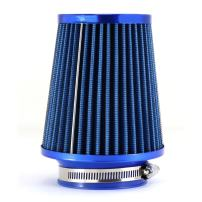 "TIROL Air Filter Round Tapered Mini Power Stack Auto Cold Air Intake Diameter 3"" Blue"