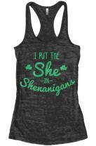Threadrock Women's I Put The She in Shenanigans Burnout Racerback Tank Top