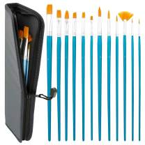 US Art Supply Halloween Face Paint 12-Piece Long Handle Premium Nylon Hair Brush Set with Carry Case